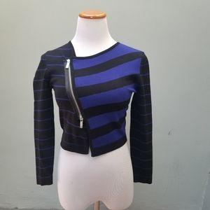Karen Millen Striped Cropped Asymmetrical Sweater
